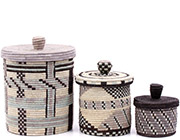 African Basket - Burundi Sisal Coil Weave Canisters - Set of 3 Nesting - #77095