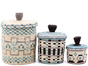 African Basket - Burundi Sisal Coil Weave Canisters - Set of 3 Nesting - #77097
