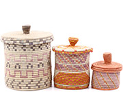 African Basket - Burundi Sisal Coil Weave Canisters - Set of 3 Nesting - #77098