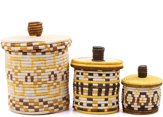 African Basket - Burundi Sisal Coil Weave Canisters - Set of 3 Nesting - #77099