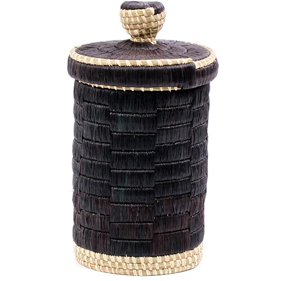 African Basket - Burundi Raffia Coil Weave Canister - 9.75 Inches Tall - #77101