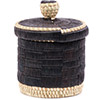 African Basket - Burundi Raffia Coil Weave Canister - 6.75 Inches Tall - #77102