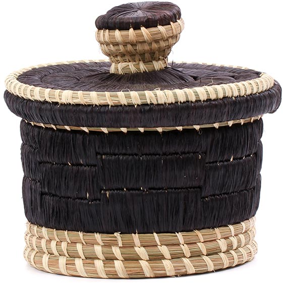 African Basket - Burundi Raffia Coil Weave Canister - 5 Inches Tall - #77103
