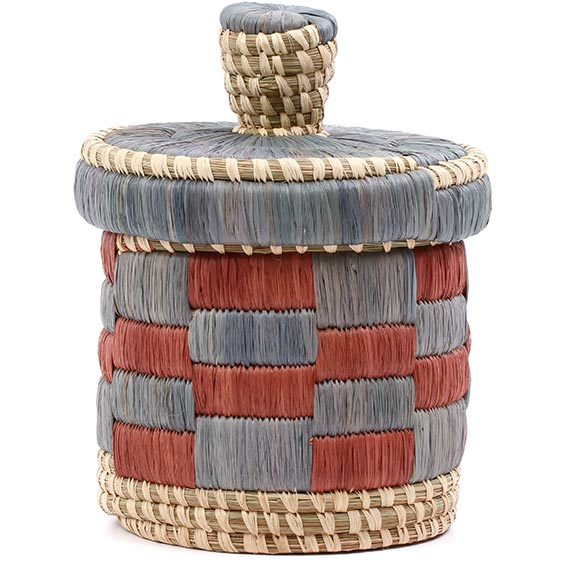 African Basket - Burundi Raffia Coil Weave Canister - 7 Inches Tall - #77104