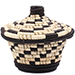 African Basket - Burundi Raffia Coil Weave Canister - 5 Inches Tall - #77105