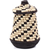 African Basket - Burundi Raffia Coil Weave Canister - 8.5 Inches Tall - #77106