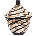 African Basket - Burundi Raffia Coil Weave Canister - 9.25 Inches Tall - #77107