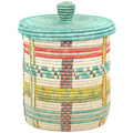 African Basket - Burundi Sisal Coil Weave Canister - 10 Inches Tall - #94908