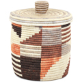 African Basket - Burundi Sisal Coil Weave Canister - 9.5 Inches Tall - #94911