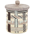 African Basket - Burundi Sisal Coil Weave Canister - 10.25 Inches Tall - #94912