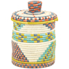 African Basket - Burundi Sisal Coil Weave Canister - 7.75 Inches Tall - #94919