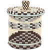African Basket - Burundi Sisal Coil Weave Canister - 7.5 Inches Tall - #94923