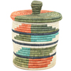 African Basket - Burundi Sisal Coil Weave Canister - 7.5 Inches Tall - #94924