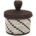 African Basket - Burundi Sisal Coil Weave Canister - 5.5 Inches Tall - #94929