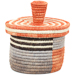 African Basket - Burundi Sisal Coil Weave Canister - 5.5 Inches Tall - #94931