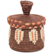 African Basket - Burundi Sisal Coil Weave Canister - 5.25 Inches Tall - #94933