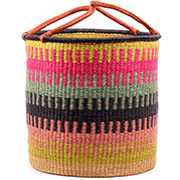 African Basket - Ghana Bolga - Laundry Hamper, Open Top Extra Large - 21 Inches Across - #74484