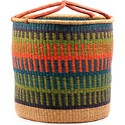 African Basket - Ghana Bolga - Laundry Hamper, Open Top Extra Large - 21 Inches Across - #74485
