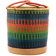 African Basket - Ghana Bolga - Laundry Hamper, Open Top Extra Large - 19 Inches Across - #74491
