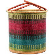 African Basket - Ghana Bolga - Laundry Hamper, Open Top Extra Large - 19 Inches Across - #74492