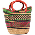 African Basket - Ghana Bolga - Medium Yikene Tote - 13 Inches Across - #74672