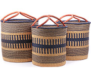 African Basket - Ghana Bolga - Nesting Set of 3 Open Top Laundry Hampers 74726