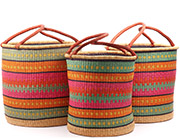 African Basket - Ghana Bolga - Nesting Set of 3 Open Top Laundry Hampers 74728