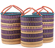 African Basket - Ghana Bolga - Nesting Set of 3 Open Top Laundry Hampers 74730