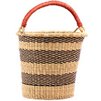 African Basket - Ghana Bolga - Pail - 13.5 Inches Across - #74769