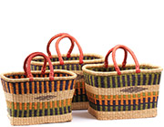 African Basket - Ghana Bolga - Nesting Set of 3 Rectangular Shopping Baskets #74779