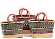 African Basket - Ghana Bolga - Nesting Set of 3 Rectangular Shopping Baskets #74780