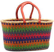 African Basket - Ghana Bolga - XL Oval Storage Basket - 22.5 Inches Across - #74864