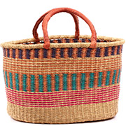 African Basket - Ghana Bolga - XL Oval Storage Basket - 19.5 Inches Across - #74867