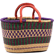 African Basket - Ghana Bolga - XL Oval Storage Basket - 18 Inches Across - #74871