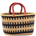 African Basket - Ghana Bolga - Oval Shopping Basket - 17.5 Inches Across - #74878