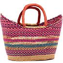 African Basket - Ghana Bolga - Petal Shopping Basket - 16.5 Inches Across - #74917