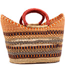 African Basket - Ghana Bolga - Petal Shopping Basket - 16 Inches Across - #74925