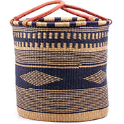 African Basket - Ghana Bolga - Laundry Hamper, Open Top Extra Large - 20.5 Inches Across - #74928