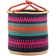 African Basket - Ghana Bolga - Laundry Hamper, Open Top Extra Large - 19 Inches Across - #74932