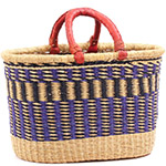 African Basket - Ghana Bolga - Oval Shopping Basket - 17 Inches Across - #75117