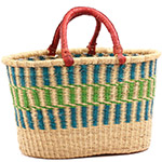 African Basket - Ghana Bolga - Oval Shopping Basket - 17.5 Inches Across - #75121