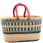 African Basket - Ghana Bolga - XL Oval Storage Basket - 18 Inches Across - #75123