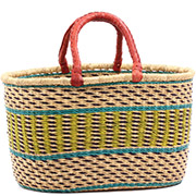 African Basket - Ghana Bolga - XL Oval Storage Basket - 18 Inches Across - #75124