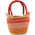 African Basket - Ghana Bolga - Medium Yikene Tote - 14.5 Inches Across - #75243