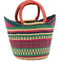 African Basket - Ghana Bolga - Medium Yikene Tote - 13.5 Inches Across - #75248