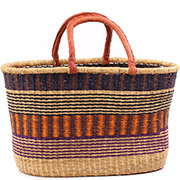 African Basket - Ghana Bolga - XL Oval Storage Basket - 21 Inches Across - #75251