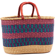 African Basket - Ghana Bolga - XL Oval Storage Basket - 19.5 Inches Across - #75253