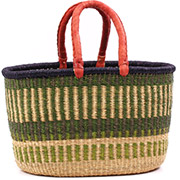 African Basket - Ghana Bolga - XL Oval Storage Basket - 18 Inches Across - #75254