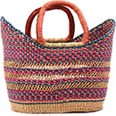 African Basket - Ghana Bolga - Petal Shopping Basket - 15.5 Inches Across - #75267