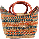 African Basket - Ghana Bolga - Petal Shopping Basket - 16 Inches Across - #75269